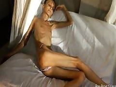 Extreme bony skinny babe shows off her tiny anorexic body tube porn video