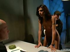 John Strong and Mark Davis teach hot brunette a lesson in jail tube porn video