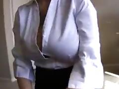 Big tit amateur nerd in office clothes jerk and facial tube porn video