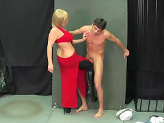 Ball busting with chubby blonde and sexy dude tube porn video