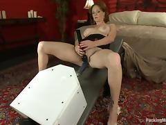 Fucking machine drilled Audrey Hollander in close-up vid tube porn video