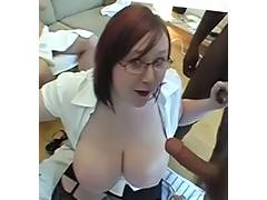 Chunky large breasted Scottish readhead jizzed on tube porn video