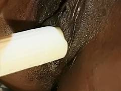 Hawt darksome babe with perky love muffins masturbates in couch alone tube porn video
