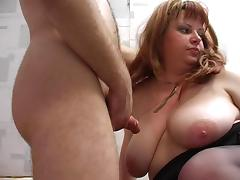 Redhead plump stepmom with hairy pubis and guy tube porn video