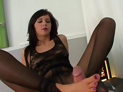 Dark-haired babe is getting cum on her feet tube porn video