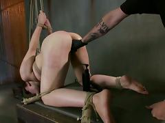 Elizabeth Thorn gets her ass beaten and her pussy fingered and toyed tube porn video