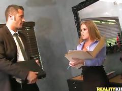 Sexy Nikki Delano fucks her colleague and gets facialed tube porn video