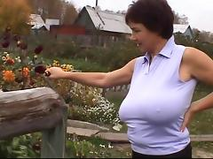 Russian Huge-Boobs-MILF on her Farm tube porn video