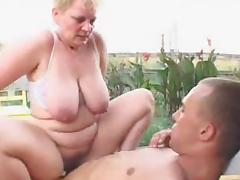 Fat blonde granny gets stunningly fucked in the yard tube porn video