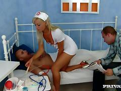 Tea Blonde Randy Naughty Nurse Getting Fucked by Two Cocks tube porn video