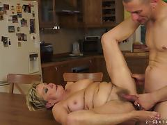 Banging a Horny Granny on the Dining Table and Couch tube porn video