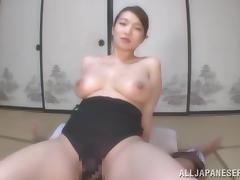 Busty Japanese chick Mio Takahashi enjoys riding and sucking a cock tube porn video