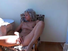 Blonde granny is touching her vagina tube porn video