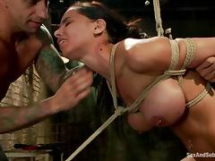 Brunette Brandy Aniston gets bounded and pounded tube porn video