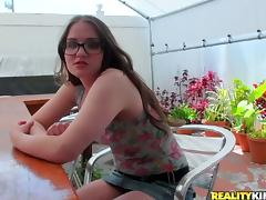 Cat Morris the nasty girl in glasses fucks in POV video tube porn video