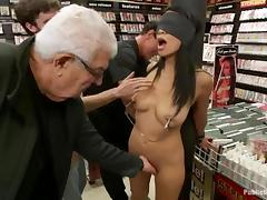 Cassandra Cruz gets stunningly fucked by a few men in a shop tube porn video