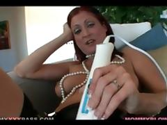 Redhead in seamed stockings masturbates tube porn video