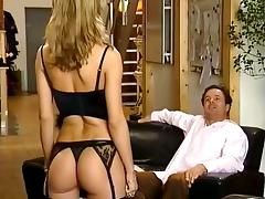 Gorgeous blonde in stockings gets her ass drilled doggy style tube porn video