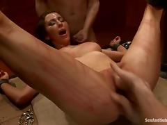 Princess Donna Dolore gets beaten and enjoys DP in terrific BDSM clip tube porn video