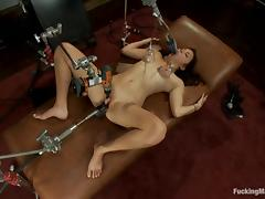 Kiki's tits are pumped, while she gets nailed by a machine tube porn video