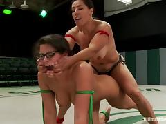 Sex dolls in bikini are fighting on the ring tube porn video