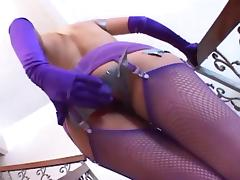 Kinky anal play in purple fishnets and gloves tube porn video