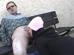 Renate gives a deep blowjob outdoors tube porn video