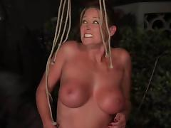 Two busty bitches get tied up and tormented in the yard tube porn video
