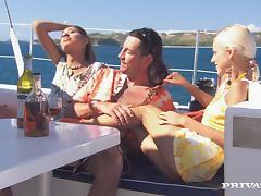 Boroka Balls and Sahara Knite get naughty with a guy on a yacht tube porn video