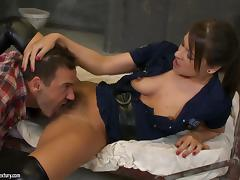 Savannah Secret gets her hairy holes licked and fucked in a jail tube porn video