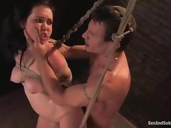 Cherry Ferretti gets bound and fucked by Mr. Pete in a basement tube porn video