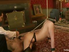 Chicks gets shindig gagged and blindfolded all over this BDSM tube porn video