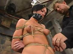 Melissa Lauren gets tormented and fucked with a dildo in BDSM instalment tube porn video