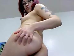 Redhead babe helter-skelter tattoos shows off her ass tube porn video