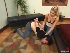 Nasty Hollie Stevens pinches a tramp and drills his ass tube porn video