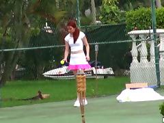 Redhead Melody Jordan plays tennis and then gets rammed tube porn video