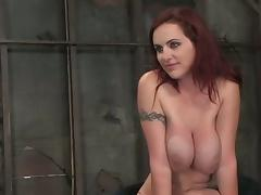 Mz Berlin gets bound and enjoys some naughty toying in cellar tube porn video