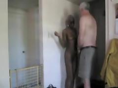 Old dude gets fucked ebony girl tube porn video