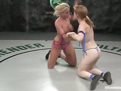 Tanned blonde gets toyed after a a fight by pale redhead girl tube porn video