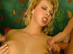 Curly-haired blonde fuck in her asshole on the stairs tube porn video