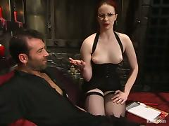 Kinky redhead chick ties a guy up and tortures his balls tube porn video