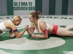 Two girls wrestle in a ring and fuck in a bathroom tube porn video