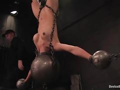 Tia Ling gets hung up and tortured in a basement and seems to enjoy it tube porn video