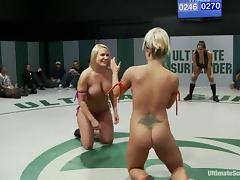 Nude sluts enjoy playing lesbian games during a fight on tatami tube porn video