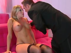 Superb Blonde With Big Tits Fucking In High Heels And Stockings tube porn video