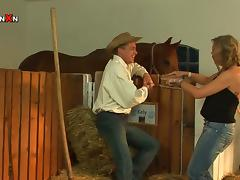 Farmer Momma Gets Fucked By A Cowboy Stud in the Stables tube porn video