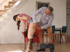 Old man is banging with young brunette Stacy Snake tube porn video