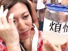 Japanese cutie is swallowing sperm from bottle tube porn video