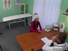 Hot amateur fucked by her doctor in a hospital tube porn video