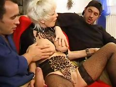 FRENCH MATURE 27 anal blonde mom milf with 2 younger men tube porn video